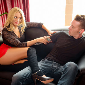 """Athena Palomino and Johnny Goodluck in a promo photo for """"Stretch Time""""."""