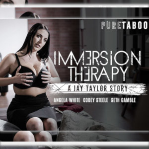 A movie-style poster for Immersion Therapy with the title (the letter E turned the wrong way) and Angela white in a black bra and skirt sitting on the edge of a bed, both hands squeezing her large boobs.