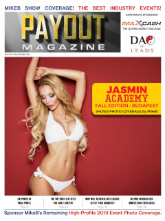Cover of Adult Industry publication for webmasters Payout Magazine Volume 9.1, featuring yet another hot babe in a bikini.